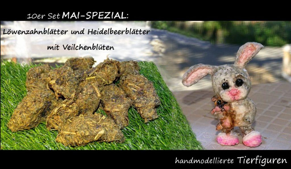 braungrüne Leckerlies mit Tierfigur Kaninchen